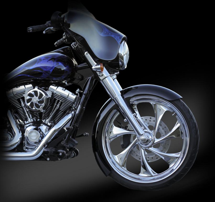 16 gauge, steel fender kit for 23x3.75 front wheel for H-D Touring Models. Choose from chrome or black fender brackets.
