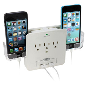 iPanda Wall Mount Surge Protector with 3 Outlet Plug and 2 USB Ports