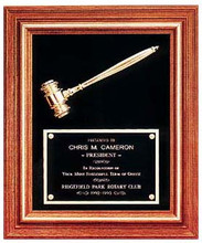 Large Walnut Frame Gavel Plaque w/ Velour