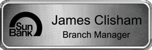 1 x 3 Silver Metal Badge