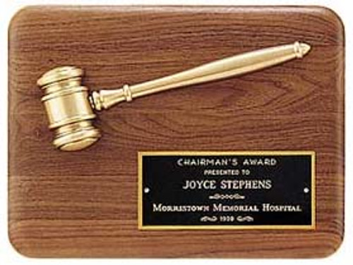 Walnut Plaque w/Bronze Gavel