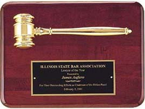 Piano Finish Plaque w/Gold Gavel