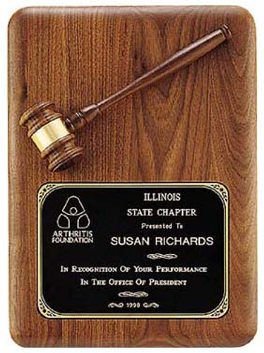 Walnut Gavel Plaque w/Brass Plate