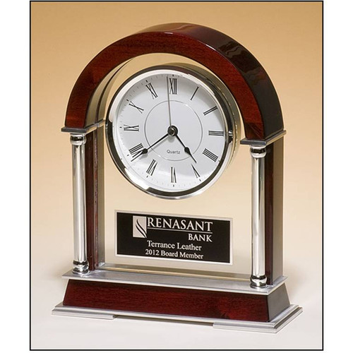 Rosewood Mantle clock with Chrome-Plated Posts (BC879)