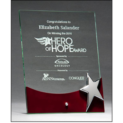 Free Standing Glass Achievement Plaque (G2792)