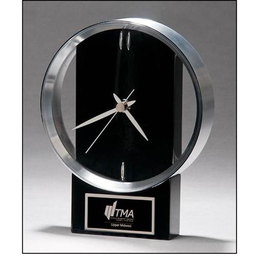 modern design clock with brushed silver bezel