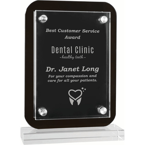 Floating Glass Standup Plaque