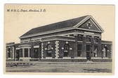 Aberdeen, South Dakota Postcard:  M. & St. L. Railroad Station
