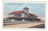 Sapulpa, Oklahoma Postcard:  Railroad Station & Harvey House