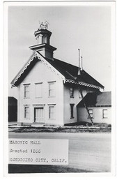 Mendocino City, California Real Photo Postcard:  Masonic Hall
