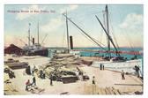 San Pedro, California Postcard:  Shipping Wood Scene