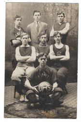 Danforth, Maine Real Photo Postcard:  1908-09 High School Basketball Team