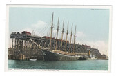 Norfolk, Virginia Postcard:  Sailing Ship at Norfolk and Western Coal Piers
