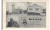 Meriden, Connecticut Postcard:  100th Anniversary of Meriden & 61st Anniversary of Stephen Sweet's Infallible Liniament