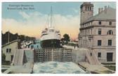 Soo, Michigan Postcard:  Passenger Steamer in Weitzel Lock
