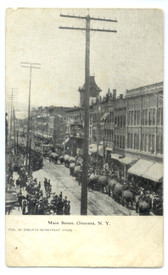 Oneonta, New York Postcard: Elephants in Circus Parade on Main Street