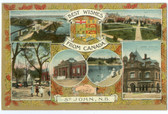 St. John, New Brunswick, Canada Postcard:  Patriotic Multiview