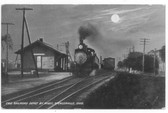Spencerville, Ohio Postcard:  Erie Railroad Depot by Night