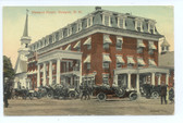Newport, New Hampshire Postcard:  Newport House & Cars