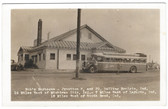 Rolling Prairie, Indiana Real Photo Postcard:  Bob's Barbecue & Greyhound Bus