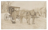 Detroit, Iowa Real Photo Postcard:  RFD Mail Wagon & Mailman