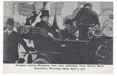 Worcester, Massachusetts Postcard:  President Taft Leaving Mechanics Hall After Addressing Convention in 1910