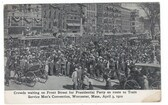 Worcester, Massachusetts Postcard:  Crowds & Trolley Cars Waiting on Front Street for President Taft to Arrive in 1910