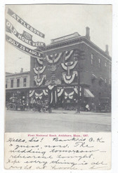 Attleboro, Massachusetts Postcard:  First National Bank Decorated in Flags for 1907 Old Home Week