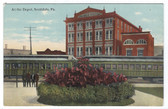 Scottdale, Pennsylvania Postcard:  At the Train Station