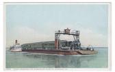 Avondale, Louisiana Postcard:  Ferry & Train Crossing the Mississippi