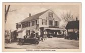 Bridgewater, Massachusetts Postcard:  Tinkham's Corner & Gas Station