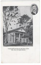 Brooklyn, Connecticut Postcard:  Congregatonal Church and Pastor