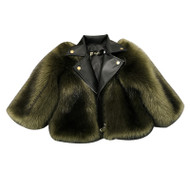 Out In The City  Faux Fur Leather Moto Jacket