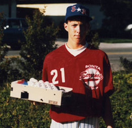Chris holds the first Personal Pitcher in 1988
