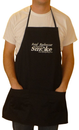 """Black """"Real Barbecue Requires Smoke"""" apron"""