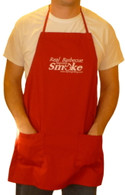 "Red ""Real Barbecue Requires Smoke"" apron"