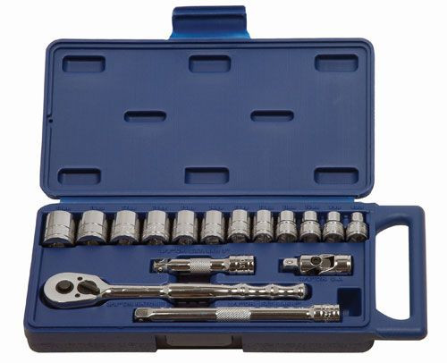 "1/4 - 7/8"" Williams 3/8"" Dr Shallow Socket & Tool Set 6 Pt 15 Pcs - 50665"