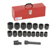 "7/8 - 2"" Williams 3/4"" Dr Shallow Impact Socket Set 6 Pt 18 Pcs & Tool Box - WS-6-18TB"