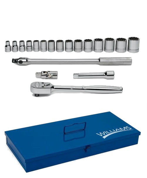 "3/8 - 1 1/4"" Williams 1/2"" Dr Shallow Socket & Tool Set 12 Pt 19 Pcs & Tool Box - WSS-19FTB"