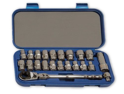 "3/8 - 3/4"" & 8-19MM Williams 3/8"" Dr Bolt Thru Socket Set 6 Pt 22 Pcs & Tool Box - 50671"