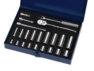 "3/8 - 7/8"" Williams 3/8"" Dr Shallow & Deep Socket & Tool Set 12 Pt 23 Pcs & Tool Box - WSB-23FTB"