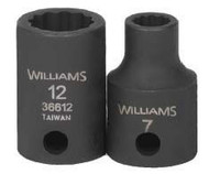 "7MM Williams 3/8"" Dr Shallow Impact Socket 12 Pt - 36607"