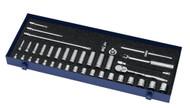 """6 - 24MM Shallow & 8 - 19MM Deep Williams 3/8"""" Dr Socket & Tool Set 12 Pt 39 Pcs - MSB-39F"""
