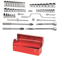 "3/8 - 1 1/2"" Shallow & 1/2 -1 1/8"" Deep Williams 1/2"" Dr Socket & Tool Set 12 Pt 57 Pcs & Tool Box - WSS-57TB"