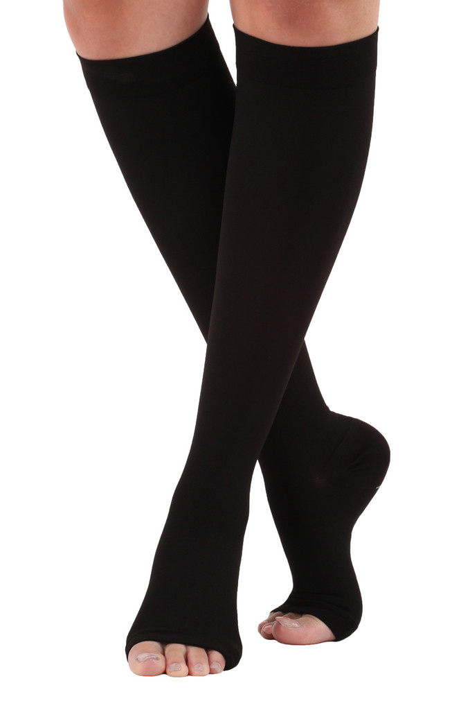Opaque Open-Toe Compression Socks