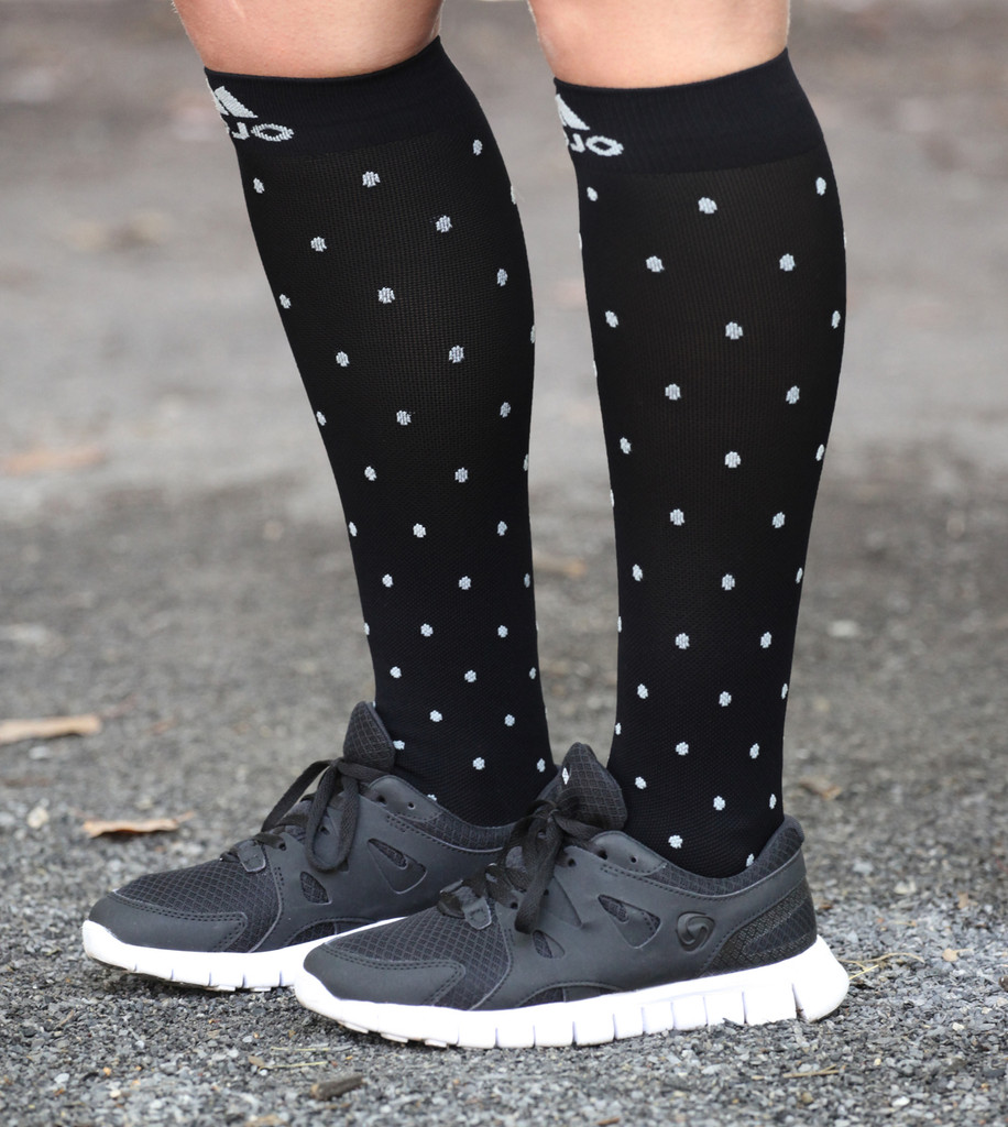 Black Essential Polka Dot Compression Socks
