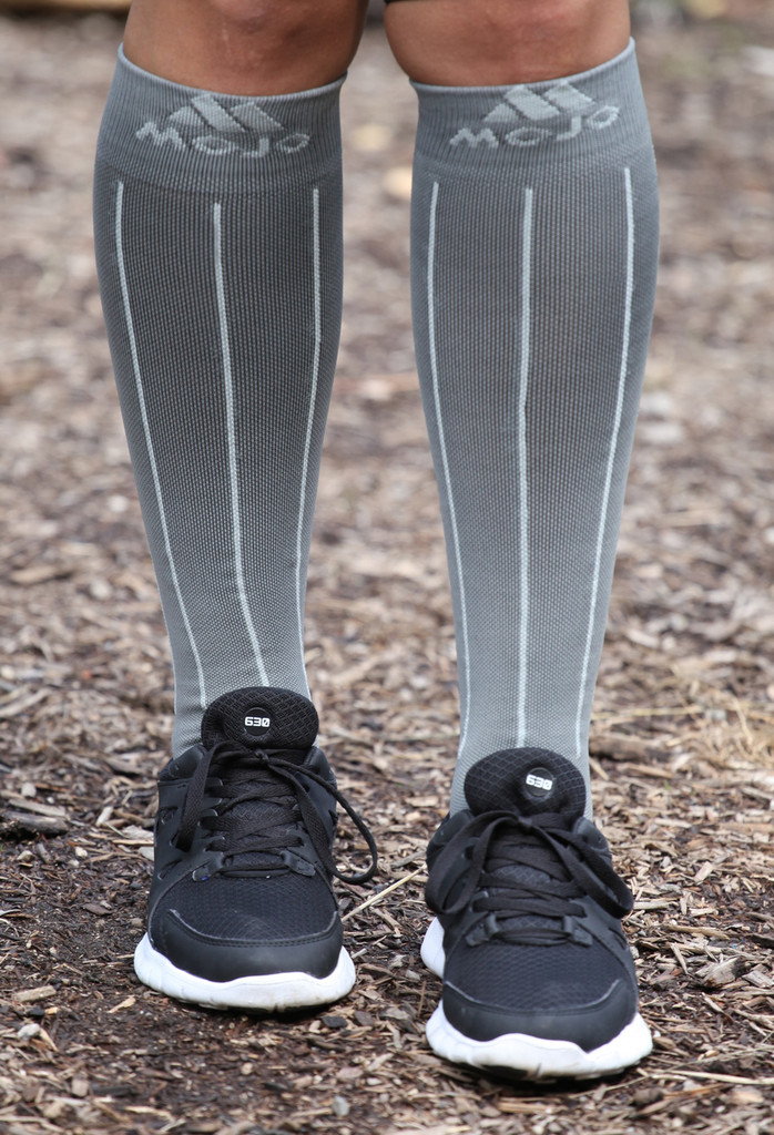 Charcoal and Light Gray Pin Stripe Compression Socks
