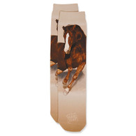 Adult Printed Sock-Dk Brown Horse