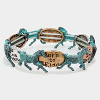 Born to ride and I Love horse stretch metal bracelet