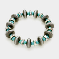Navajo Pearl & Turquoise stretch bracelet